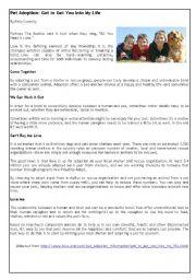 English Worksheet: Pet adoption (with exercises)