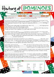 English Worksheet: History of DOMINOES