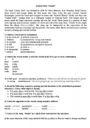 English Worksheet: Numb by Linking Park