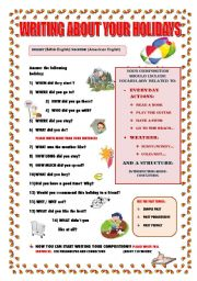 English Worksheets: WRITING ABOUT YOUR HOLIDAYS  (GUIDELINE)