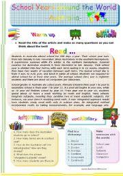 English Worksheet: SCHOOL YEARS AROUND THE WORLD - AUSTRALIA -