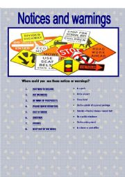 English Worksheet: notices and warnings