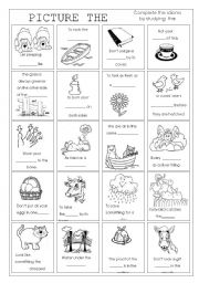 Printables Idioms Worksheets english teaching worksheets idioms picture the idioms