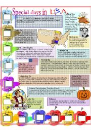 English Worksheet: Special Days in USA