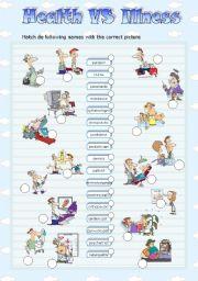 English Worksheet: HEALTH vs ILLNESS - MATCH (1)