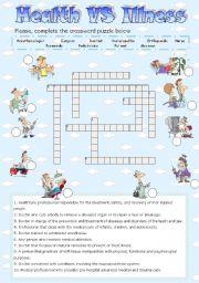 English Worksheet: HEALTH vs ILLNESS - CROSSWORD
