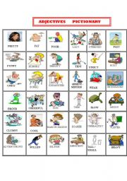 English teaching worksheets: Adjectives pictionary
