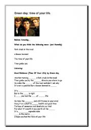 English Worksheet: (good riddance) time of your life