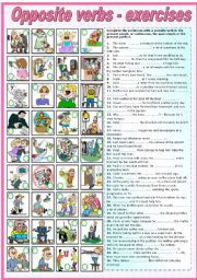 English Worksheet: OPPOSITE VERBS - EXERCISES ( KEY AND B&W VERSION INCLUDED)