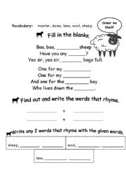 English Worksheet: baa baa black sheep activity page