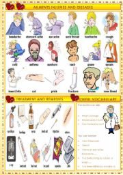 English Worksheet: AILMENTS INJURIES AND DISEASES