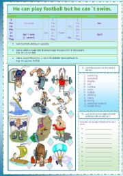 English Worksheet: He can play football but he can´t swim.