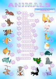 English Worksheets: ANIMALS SPELLING