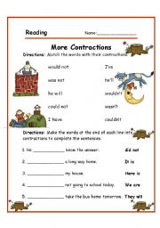 English Worksheet: CONTRACTIONS (2/2)