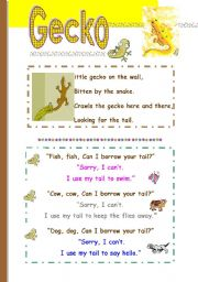 English Worksheets: Gecko--talking about small animals