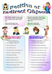 Worksheets Direct And Indirect Object Worksheets english exercises indirect object the position of objects learn to place before after direct elementaryintermedi ate bw version