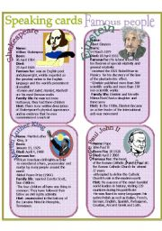 English Worksheet: Speaking cards - Famous people