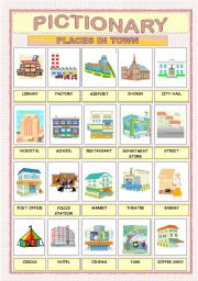 places in town pictionary esl worksheet by macomabi. Black Bedroom Furniture Sets. Home Design Ideas