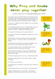 English Worksheets: Why frog and snake never play together
