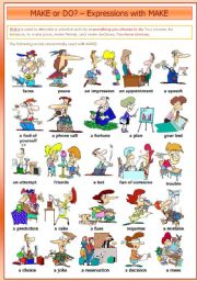 English Worksheet: MAKE or DO? � Expressions with MAKE