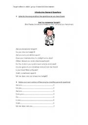 English Worksheets: Introducing general questions