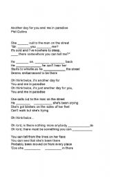 English Worksheets: Phil Collins Song Gap fill