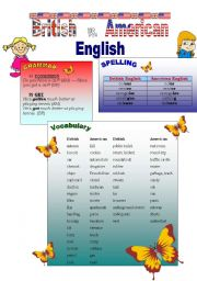 English Worksheet: British vs. American English (1/2)