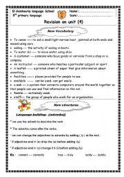 English Worksheets: revision sheet on unit 4 macmillan 5