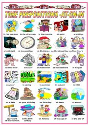 English Worksheet: TIME PREPOSITIONS -AT - ON - IN -PICTIONARY (B&W VERSION INCLUDED)
