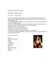 English Worksheets: The man in the iron mask-Chapter 1