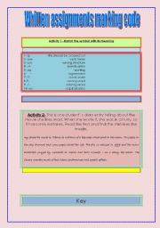 English Worksheets: Written assignments marking code