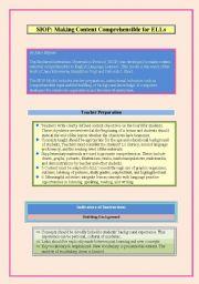 English Worksheets: SIOP Sheltered Instruction Observation Protocol