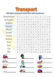 Transport Wordsearch