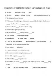 English Worksheet: Summary of traditional subject-verb agreement rules