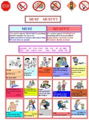 English Worksheet: MUST and MUSTN´T