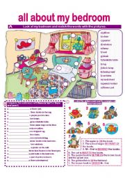 English Worksheet: BEDROOM VOCABULARY- MATCHING- THERE IS/ARE-ISN´T/AREN´T-PREPOSITIONS-SPEAKING ACTIVITY-WRITING ACTIVITY- answer key provided.
