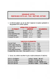 responses with so too neither either esl worksheet by katiajump. Black Bedroom Furniture Sets. Home Design Ideas