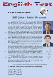 English Worksheet: TEST - BILL GATES - BEHIND THE SCENES (3 pages)