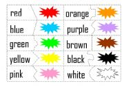English Worksheets: Match the colours Game
