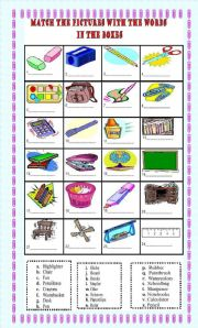 Classroom Objects: matching exercise