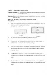 English Worksheets: series and parallel circuit