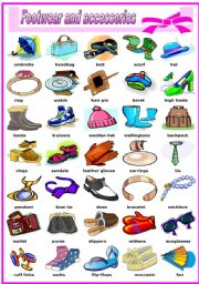 English Worksheet: FOOTWEAR AND ACCESSORIES -PICTIONARY (B&W VERSION INCLUDED)