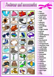 English Worksheets: FOOTWEAR AND ACCESSORIES -MATCHING (B&W VERSION INCLUDED)