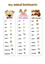 MY ANIMAL BOOKMARKS