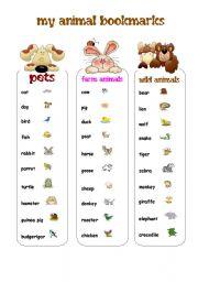 English Worksheets: MY ANIMAL BOOKMARKS