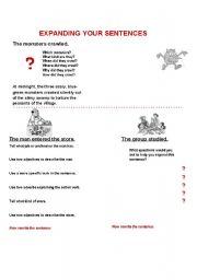 English Worksheets: expanding sentences