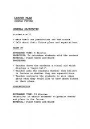 English worksheet: Simple Future Lesson Plan