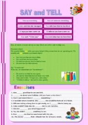 English Worksheet: Say and Tell - grammar explanation and exercises