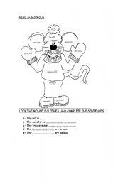 esl kids worksheets colour the mouse. Black Bedroom Furniture Sets. Home Design Ideas