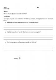 English Worksheets: Animals and Plants classification